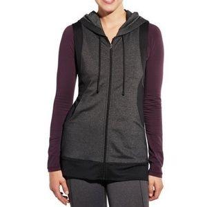 Calia Full Zip Sleeveless Hooded Vest in Caviar